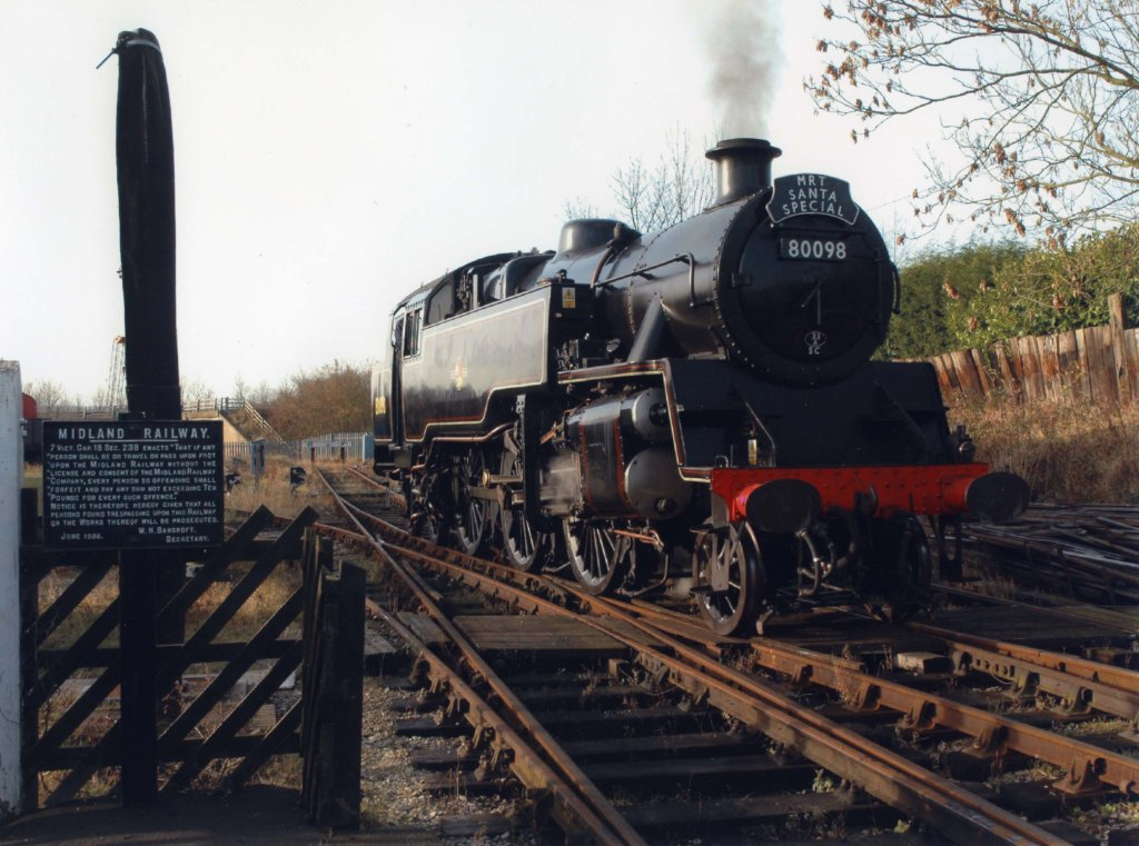 Steam locomotive 80098 operating at the Midland Railway-Butterley