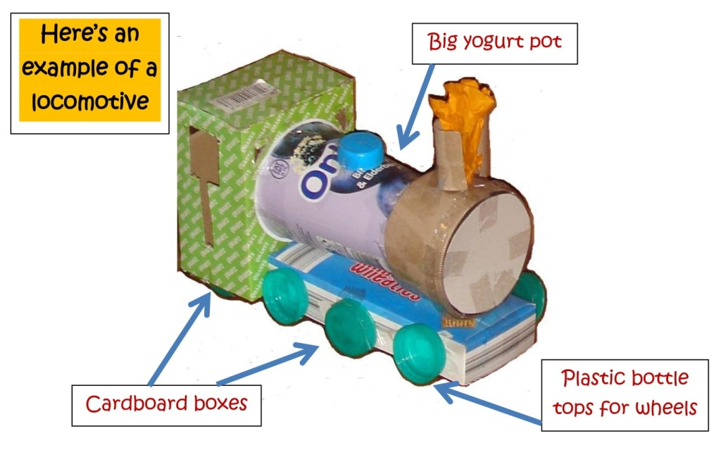 Model train made out of recycled materials.