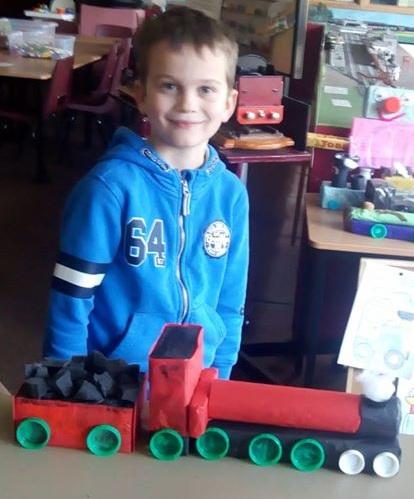 children making junk model trains at the West Shed