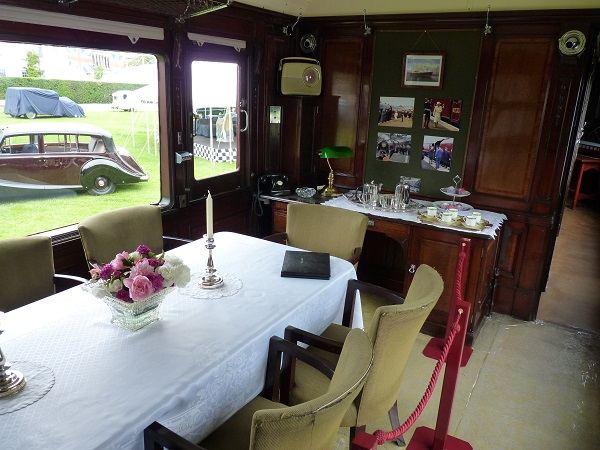 A view inside the dining room of Saloon 45000 set out for afternoon tea
