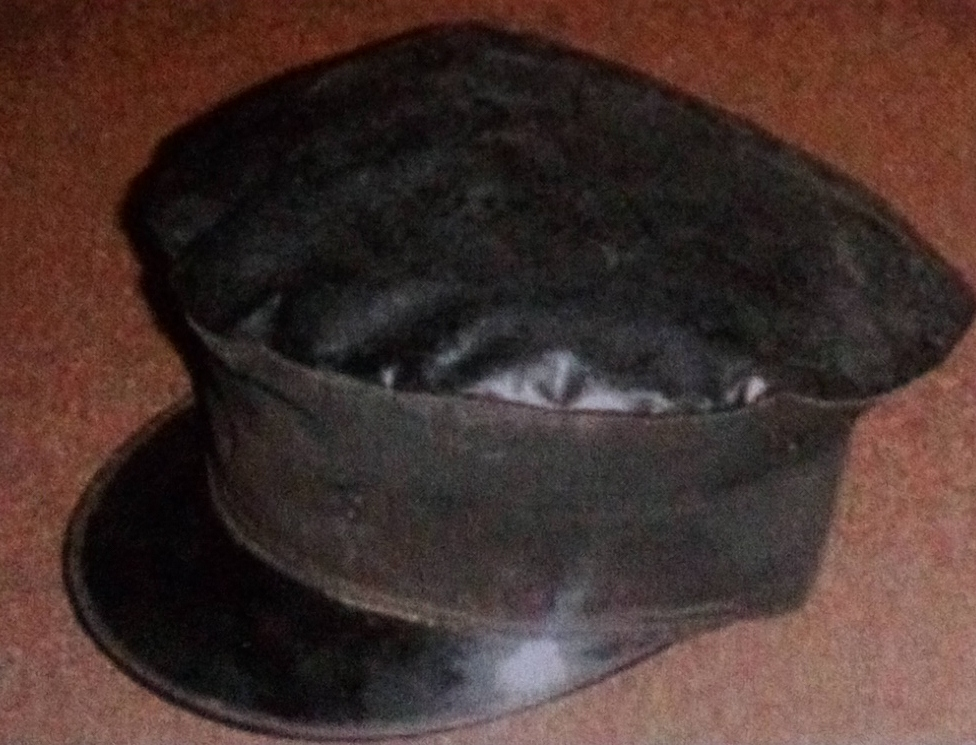 Locomotive driver's cap made from grease top material.