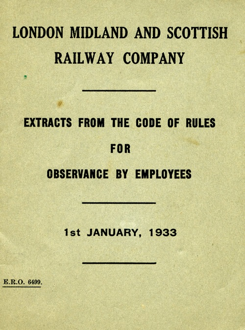 Front cover of the London Midland and Scottish Railway rule book 1933.