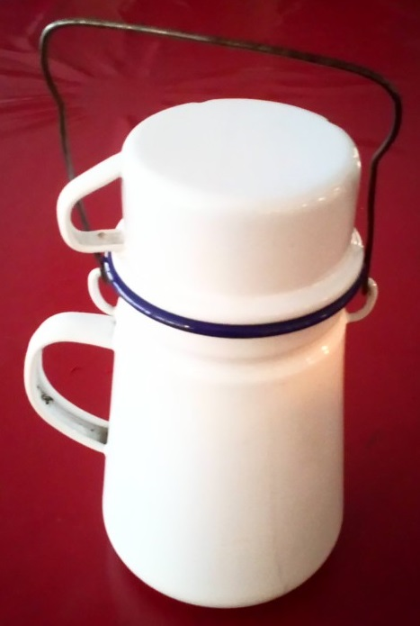 Metal mashing can - a drinks flask and cup