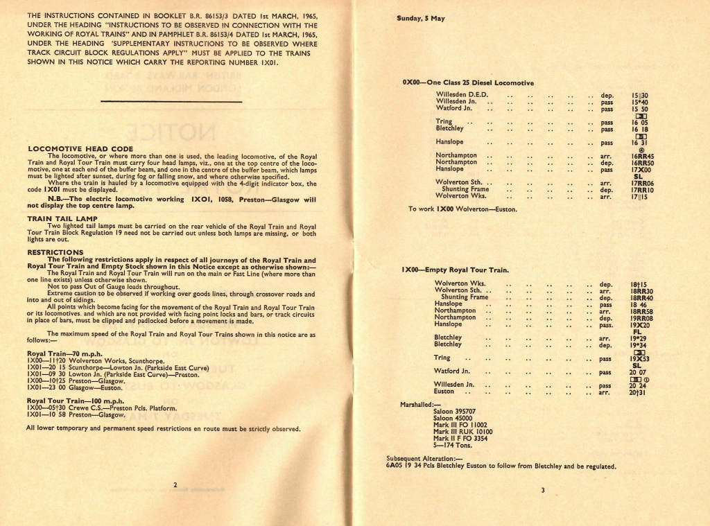 Pages inside the instruction booklet - Notice of Royal Trains 6th to 7th May 1974.