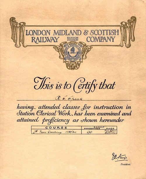 certificate for passing a first year coaching course, London Midland and Scottish Railway 1934.