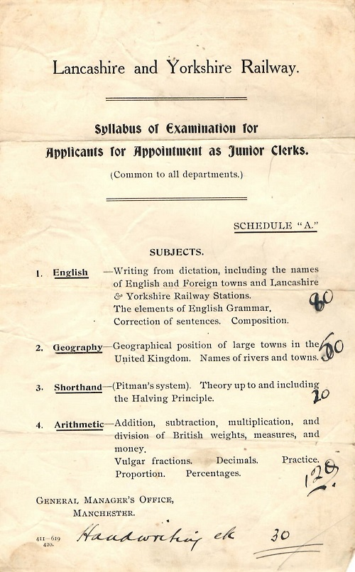 Lancashire and Yorkshire Railway syllabus of examination for junior clerks.