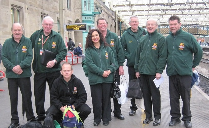 Volunteers on a train trip