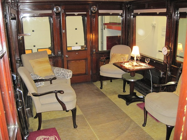 Inside the lounge of the railway carriage Saloon 45000.