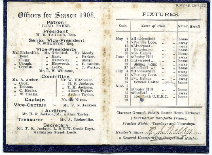 Inside the booklet for the Leeds Joint Goods Cricket Club 1908.
