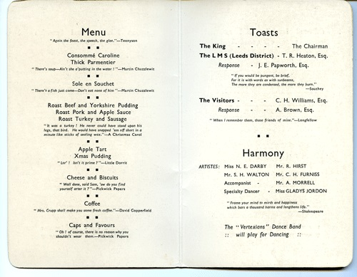 Inside the menu for the London Midland and Scottish Railway Company Annual Dinner for Leeds District Goods Manager's Staff, November 22nd, 1935.