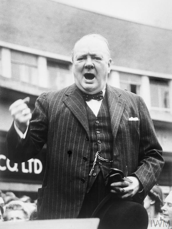 Winston Churchill making a public speech