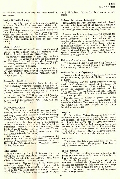 Page from the LMS magazine in 1937 referring to the Railway Servant's Orphanage in Derby.