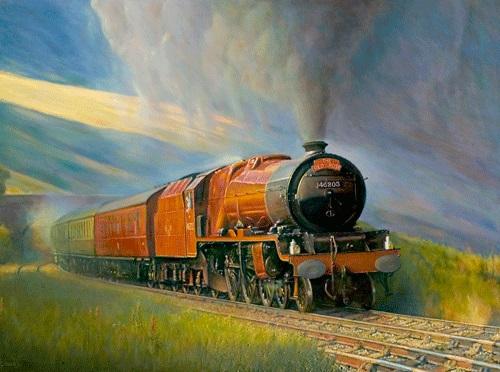 Oil painting of the steam locomotive Princess Margaret Rose.