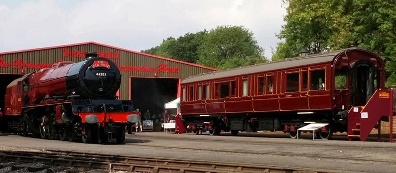 Steam locomotive Princess Margaret Rose and Saloon 45000 outside the West Shed
