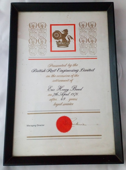 Framed certificate presented to Eric Henry Baud on his retirement from the railway in 1976.