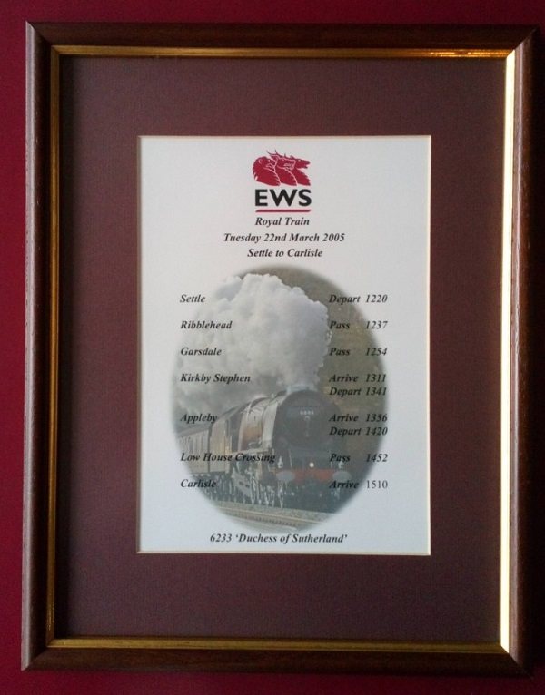Framed timing sheet for steam locomotive Duchess of Sutherland pulling the Royal Train on the Settle - Carlisle railway 2005.