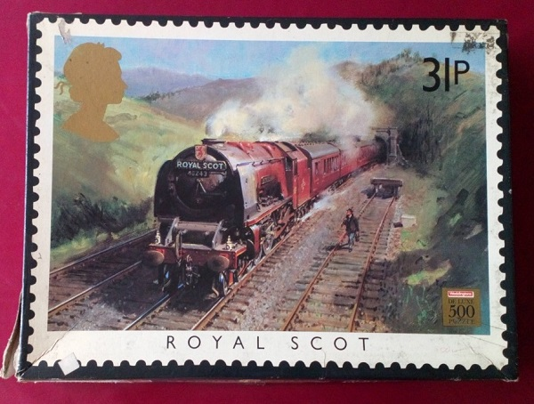 Jigsaw with a picture of the Royal Scot train.