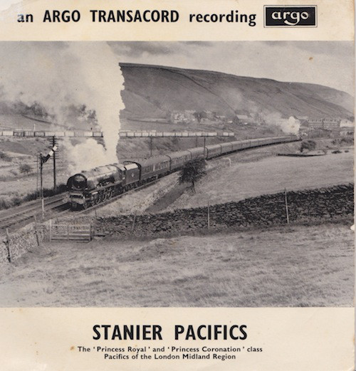 Cover of a vinyl record featuring sound recordings of Stanier Pacific steam locomotives.