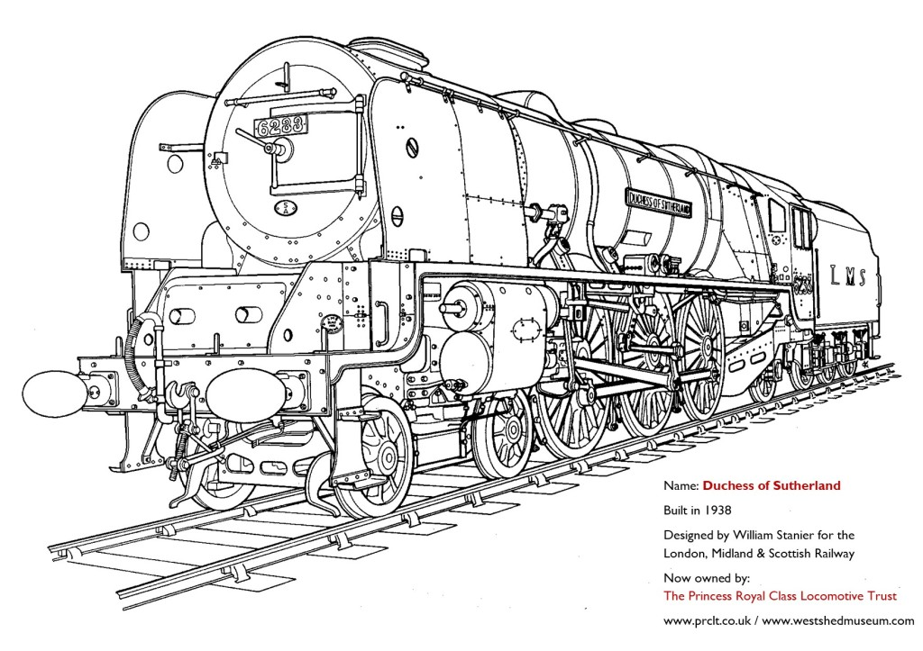 Line drawing of steam locomotive Duchess of Sutherland